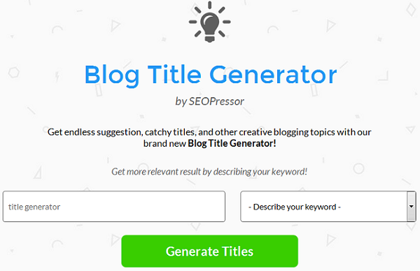 how to create a blog title