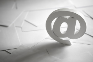 Email symbol on business letters concept for internet, contact u