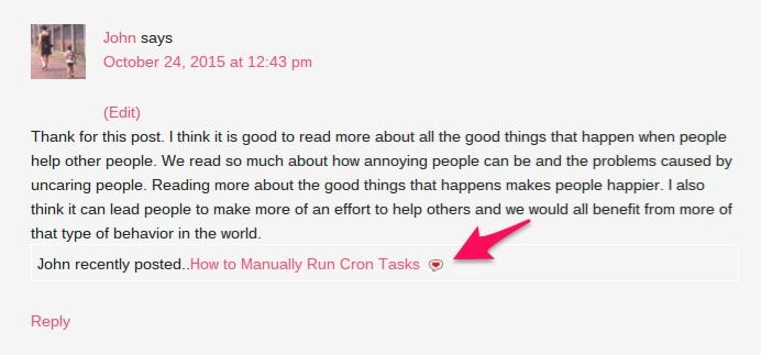 Commentluv screenshot