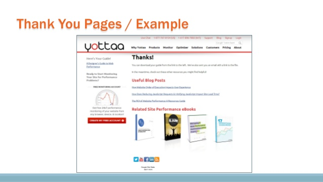 Example of a thank you page