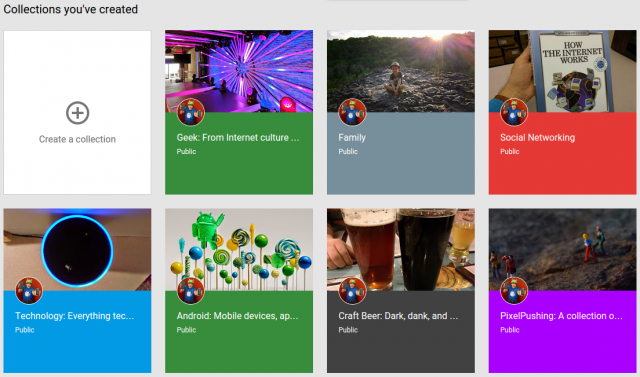 Example of Google+ collections