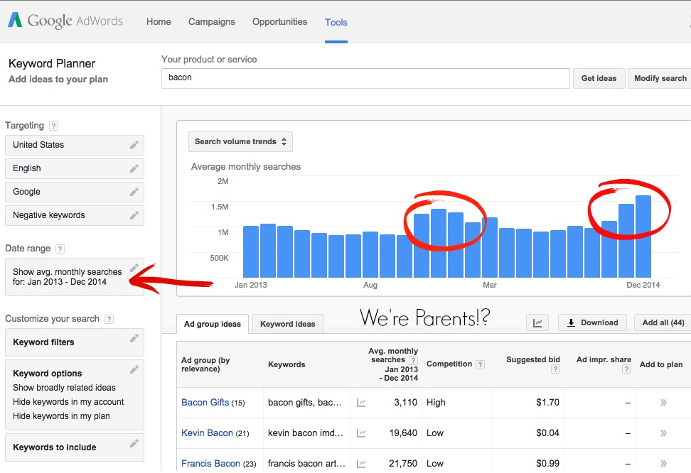 Google keyword planner screenshots