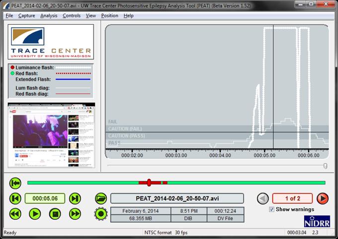 Photosensitive epilepsy analysis tool
